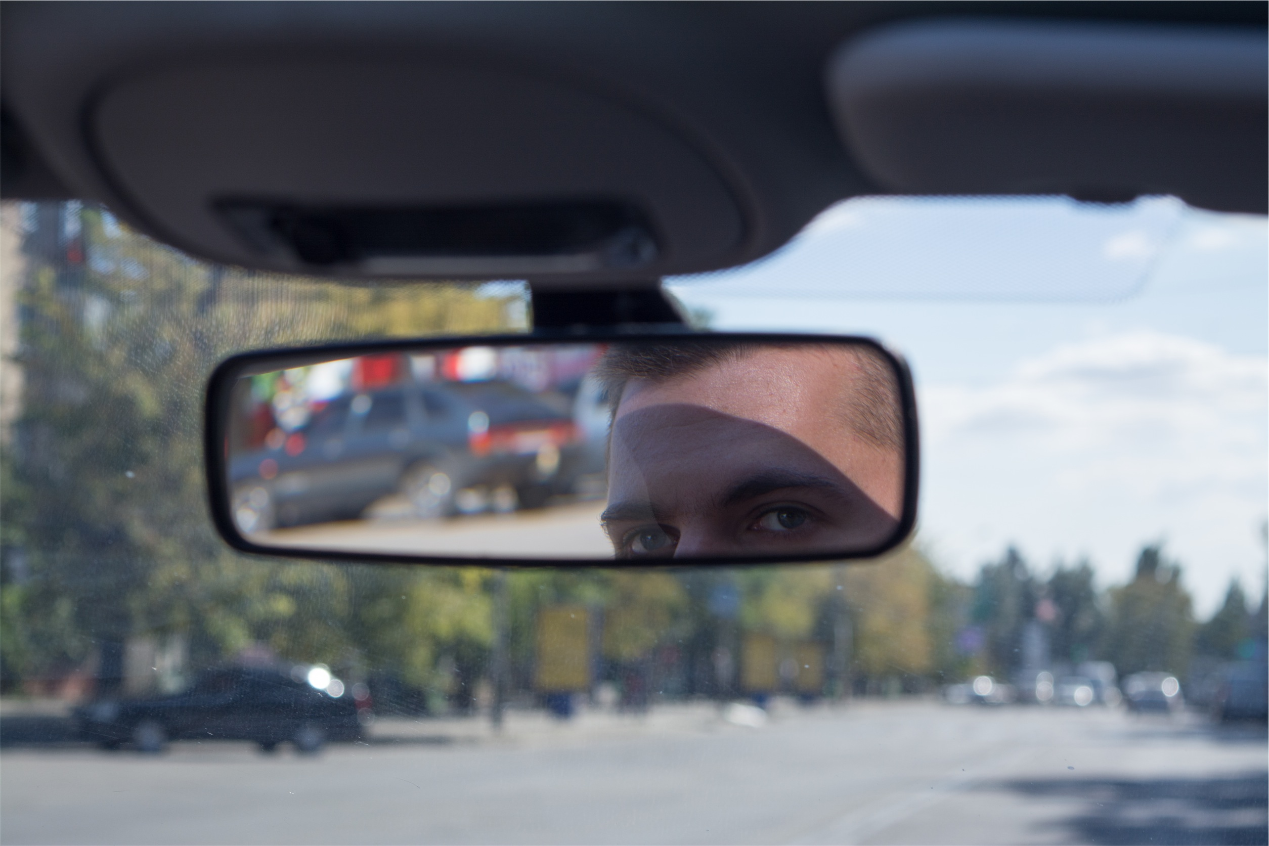 Using a rearview mirror to see